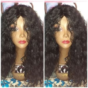 "18"" deep wave curly human blend hair wig"